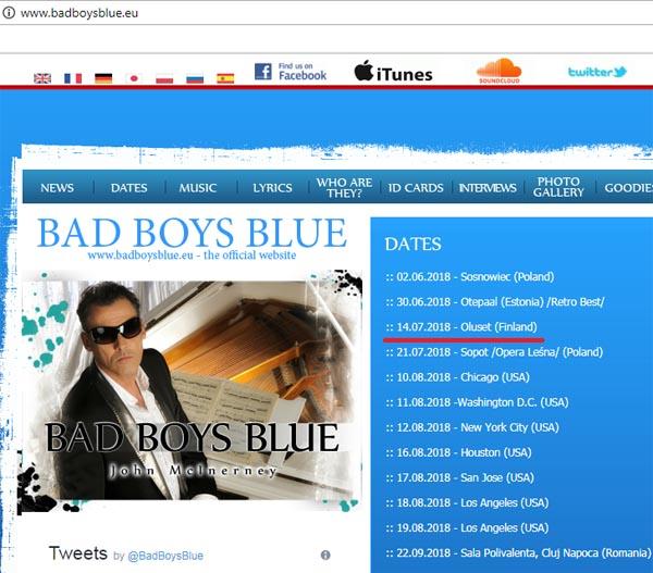 График выступлений Bad Boys Blue